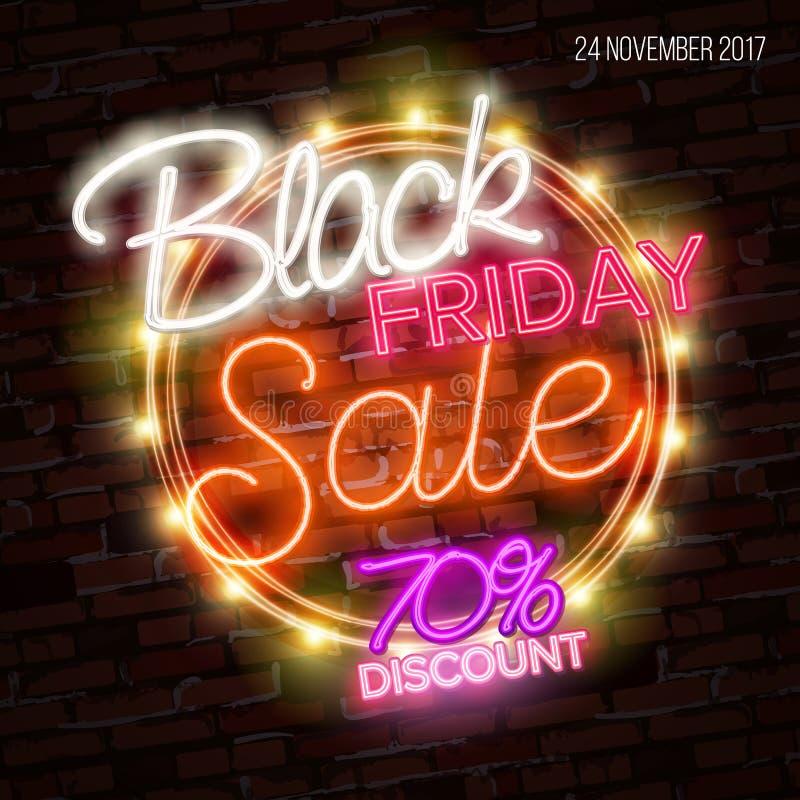 Vente noire de vendredi, concept de construction massif d'affiche de l'épargne, style au néon illustration stock