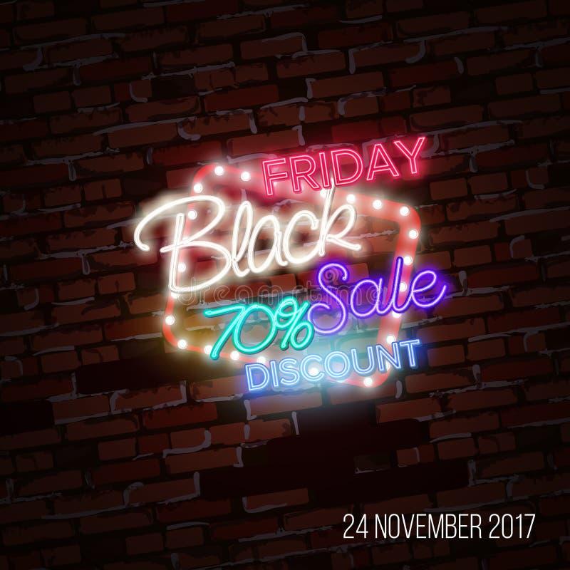 Vente noire de vendredi, concept de construction massif d'affiche de l'épargne, style au néon illustration libre de droits