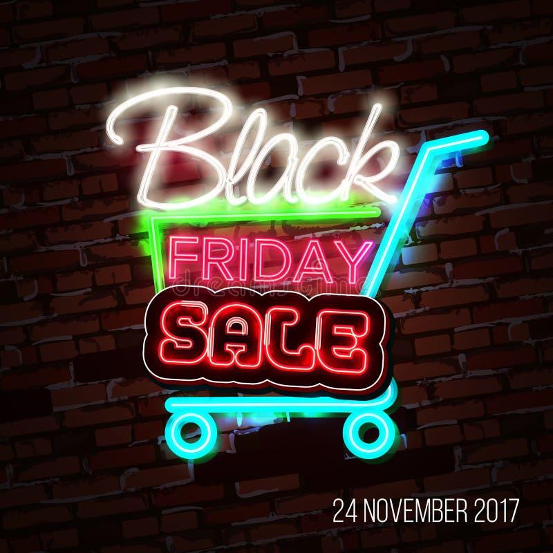 Vente noire de vendredi, concept de construction massif d'affiche de l'épargne, style au néon illustration de vecteur