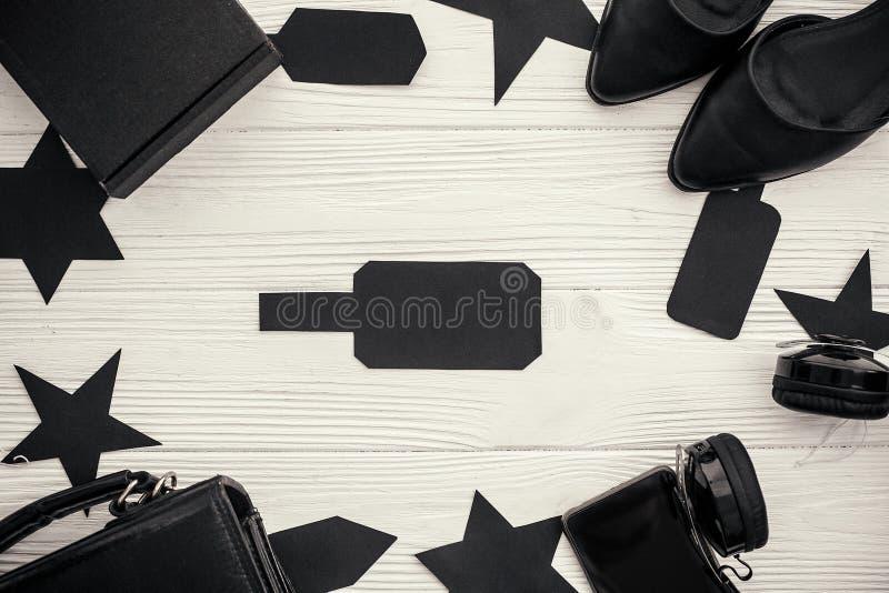 Vente noire de vendredi Prix à payer noir avec l'espace pour le texte et le sac, image libre de droits