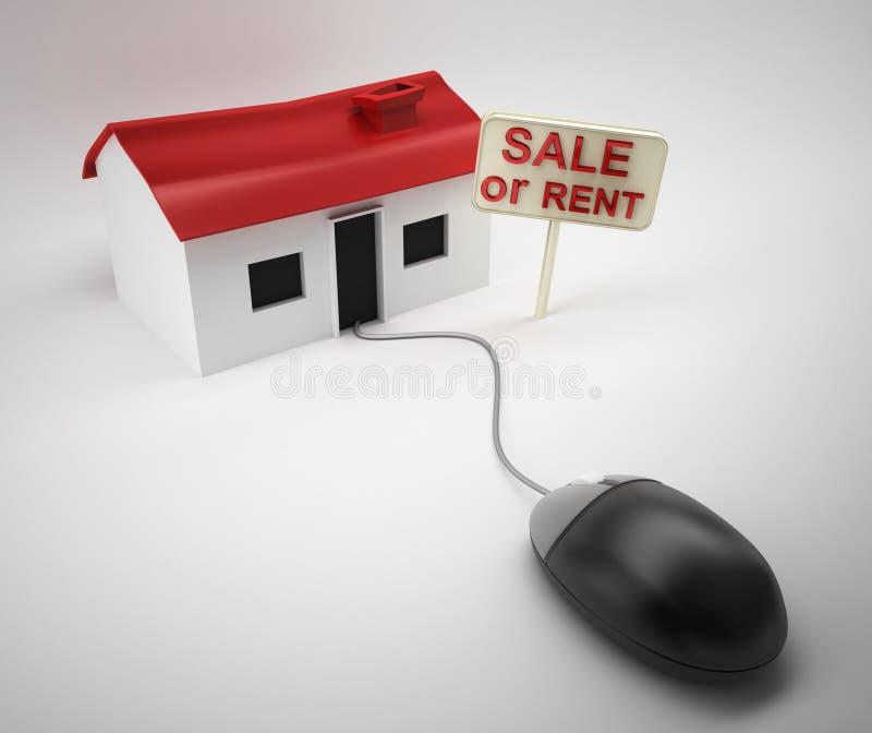 Vente ou loyer de maison d'Internet illustration de vecteur