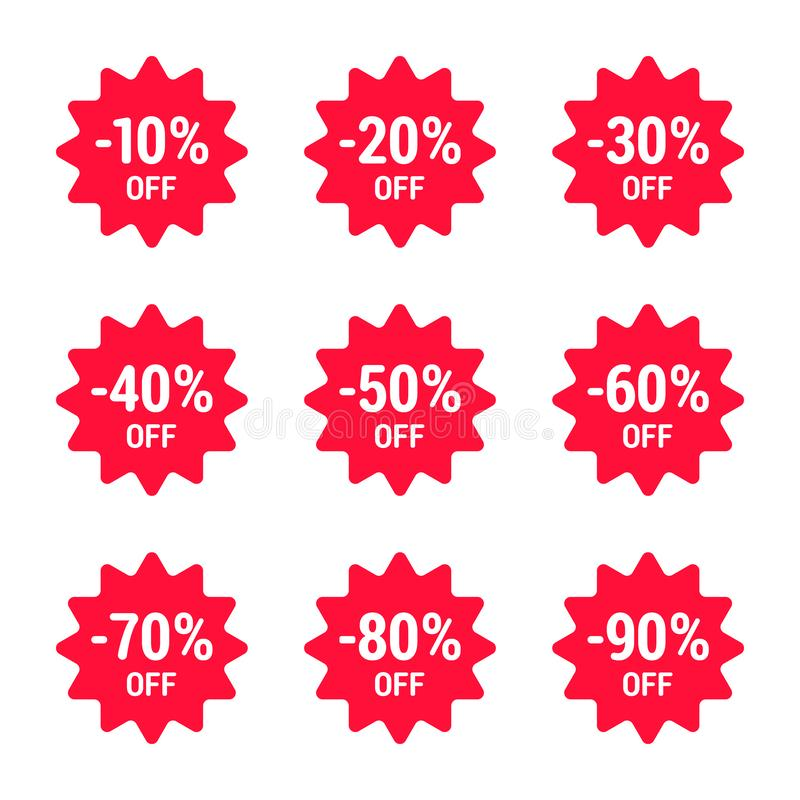 Vente, outre des pour cent, ensemble d'icône, rouge Vecteur ENV 10 illustration stock