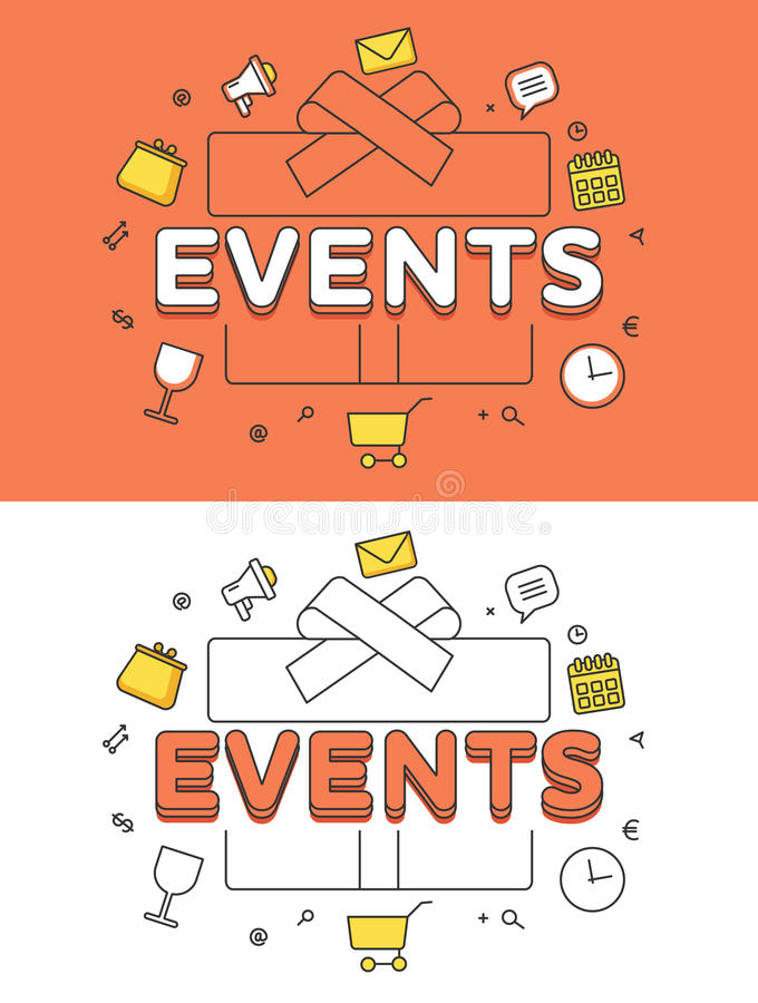 Vente plate linéaire de vecteur d'image de boîte-cadeau d'ÉVÉNEMENTS illustration de vecteur