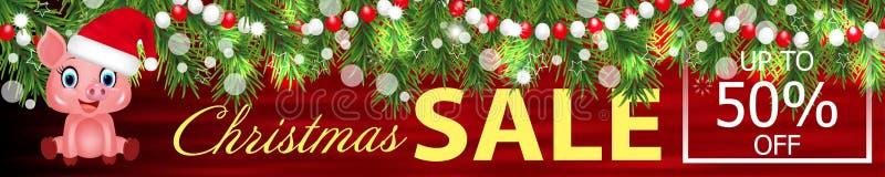 Vente rouge de Noël de bannière avec la guirlande des branches d'arbre de Noël et du symbole mignon de zodiaque de porc dans le c illustration libre de droits