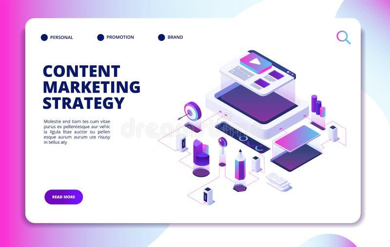 Vente satisfaite Stratégie visuelle de contenu de blog, promotion numérique du marché Site Web éditant l'atterrissage isométrique illustration de vecteur