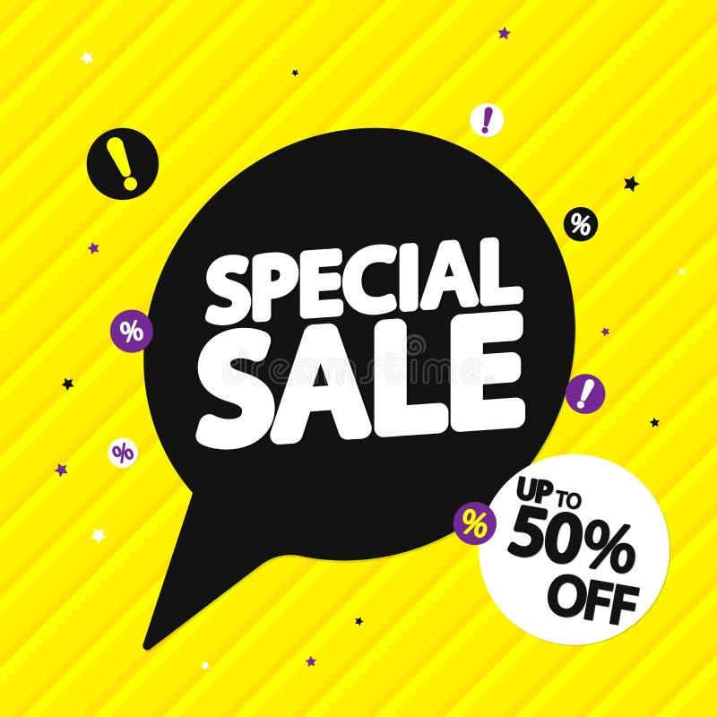 Vente spéciale, jusqu'à 50%, bannière de bulle de la parole d'offre, calibre de conception d'étiquette de remise, illustration de illustration stock