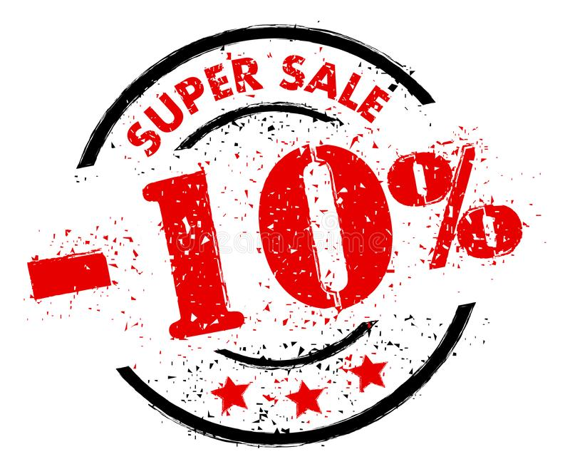 VENTE SUPERBE 10% OUTRE de style grunge de tampon en caoutchouc illustration stock