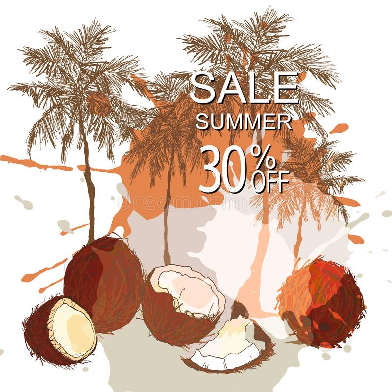 Vente tropicale de fond d'été illustration stock
