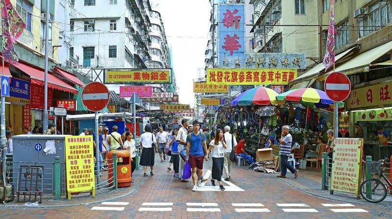 Venters bij de markt van de pei ho straat, veinzerijshui po, Hongkong stock afbeelding