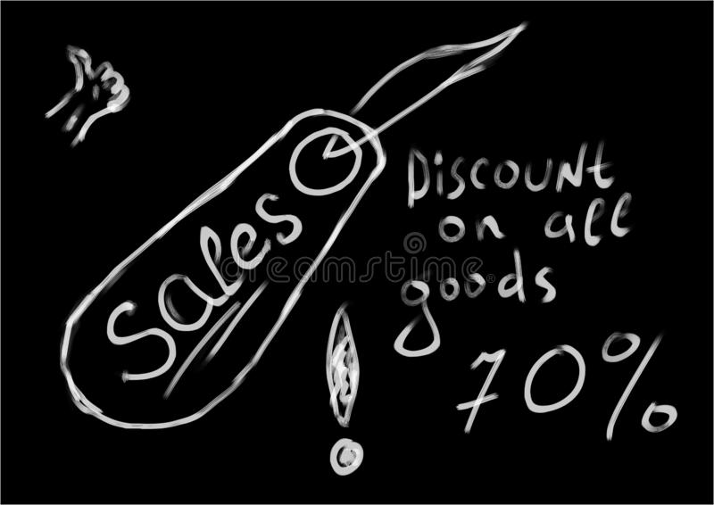 Ventes d'étiquettes sur fond noir Réduction sur toutes les marchandises 70 illustration stock