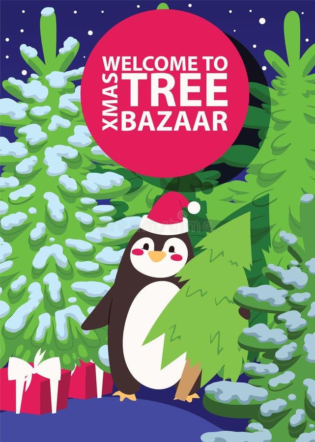 Ventes d'hiver de vecteur de vente de bazar d'arbre d'hiver de Noël les grandes de Noël de publicité de temps vendable d'achats o illustration de vecteur