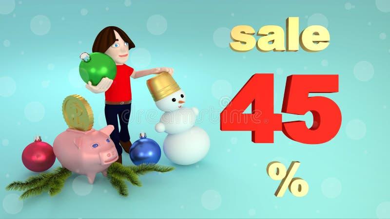 Ventes de nouvelle année et de Noël quarante-cinq pour cent rendu 3d illustration libre de droits