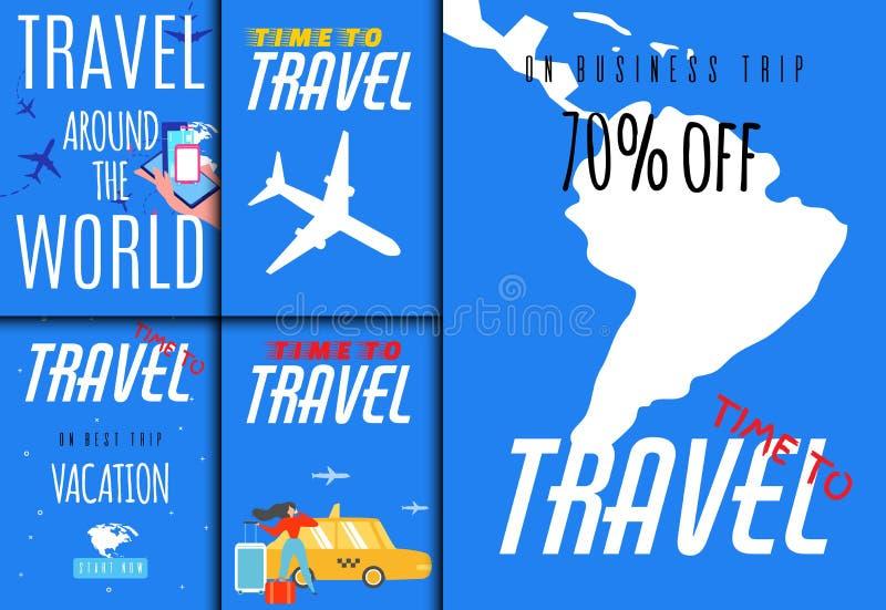 Ventes de voyage du monde réglées pour l'application d'agence de visite illustration de vecteur