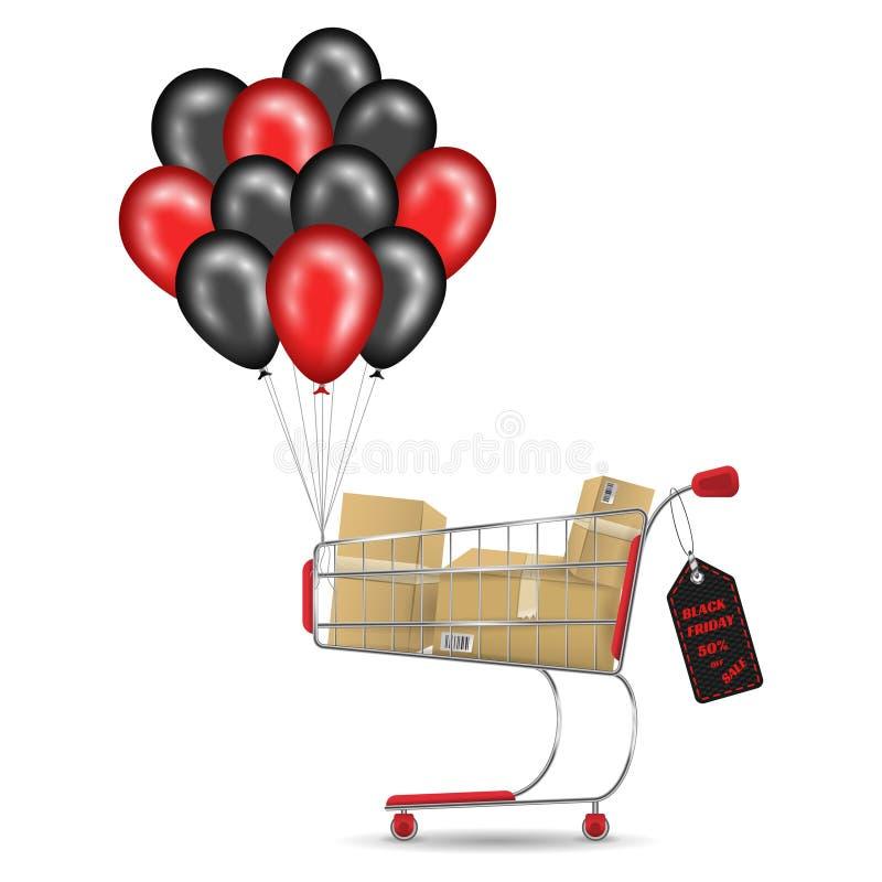 Ventes noires de vendredi Boîtes de carton de chariot à caddie pleines et ballons noirs rouges Vecteur réaliste illustration de vecteur