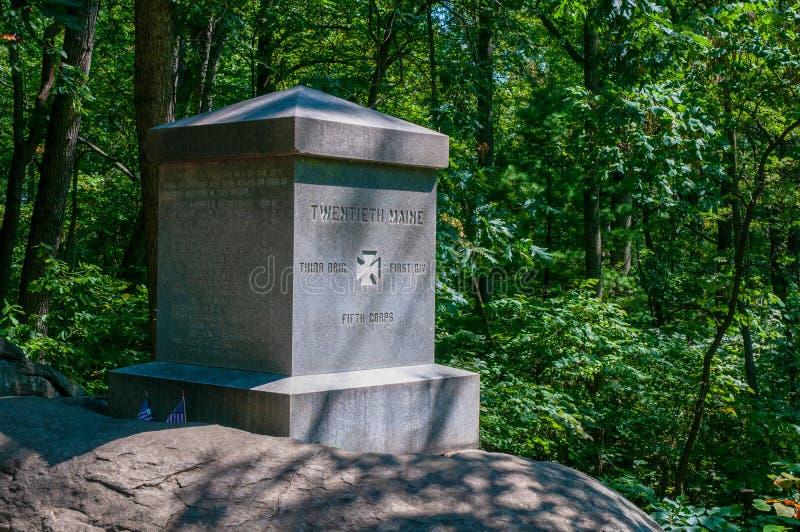ventesima Maine Monument Little Round Top fotografia stock libera da diritti