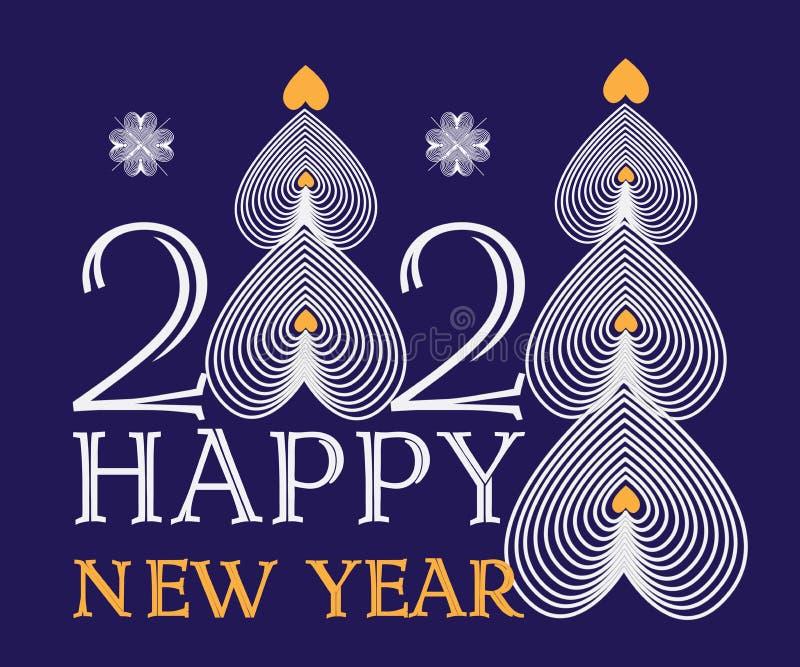 Ventesimo nuovo anno felice con i cuori sotto forma di alberi di Natale su un fondo scuro con testo, vettore, cartolina royalty illustrazione gratis