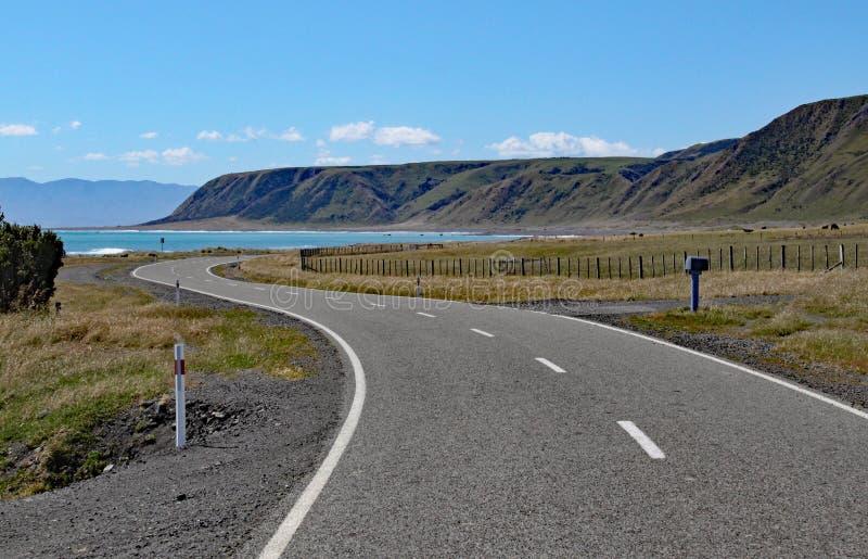 Venti abbandonati di una strada verso la baia a capo Palliser, del nord, isola, Nuova Zelanda immagini stock libere da diritti