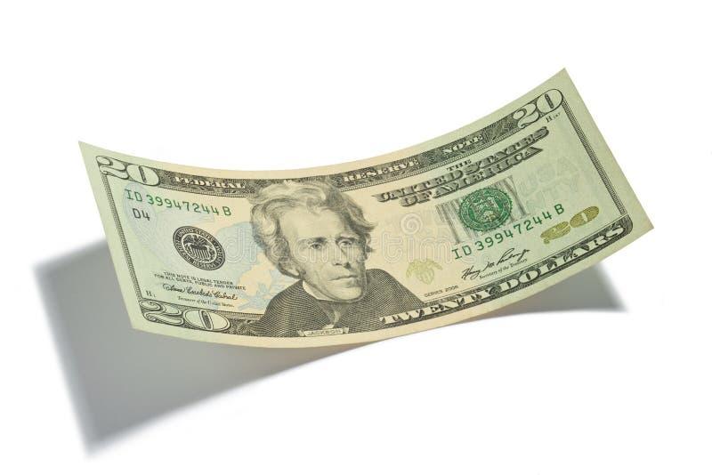 Venti dollari Bill isolato immagini stock