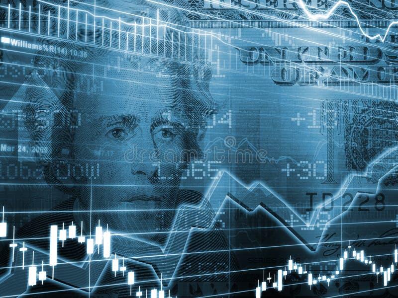 Venti dollari con il grafico verde del mercato azionario illustrazione vettoriale