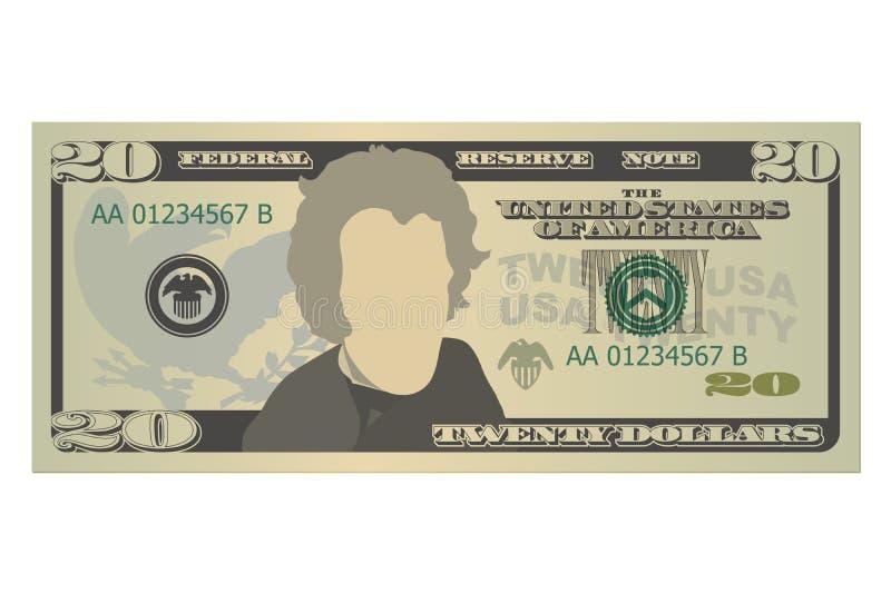 Venti dollari di fattura 20 dollari americani di banconota, vista frontale Illustrazione di vettore su priorit? bassa bianca illustrazione di stock
