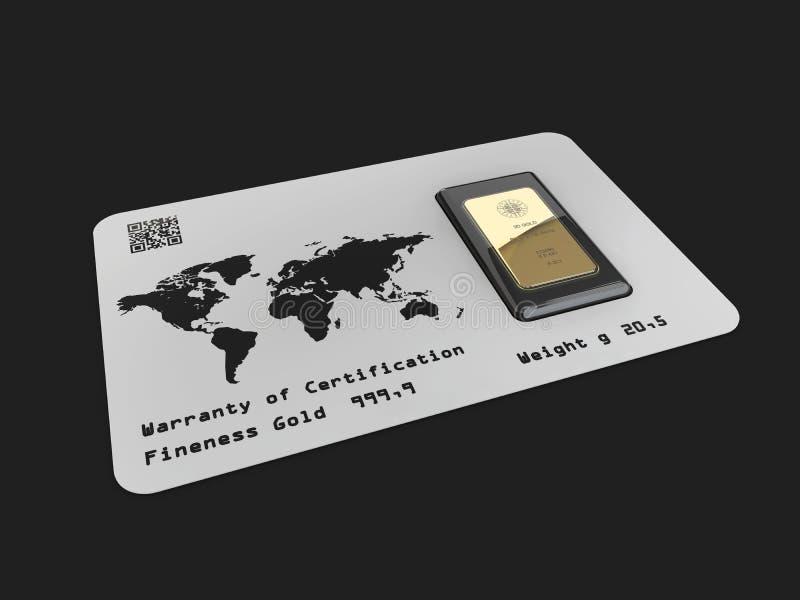 Venti grammi di barra di oro nella scatola, isolati sul nero, illustrazione 3d illustrazione di stock