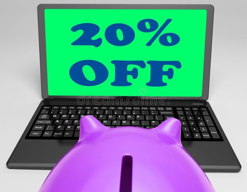Venti per cento fuori dal computer portatile mostrano 20 sconti illustrazione vettoriale