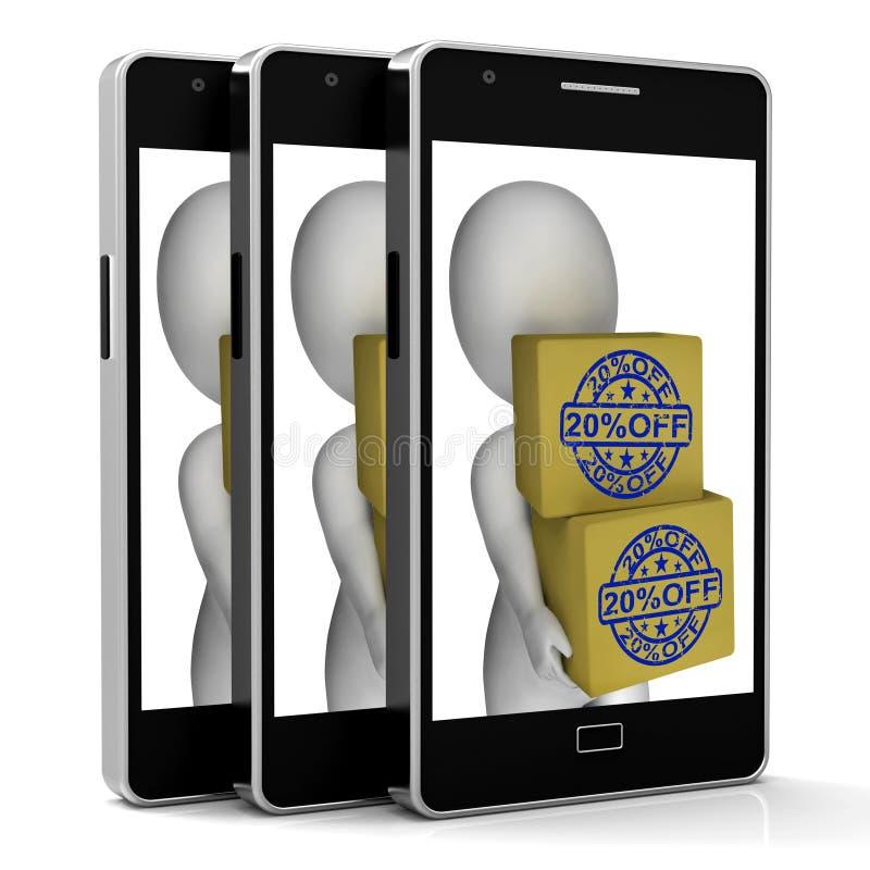 Venti per cento fuori dal prezzo ridotto di manifestazione del telefono delle scatole illustrazione di stock