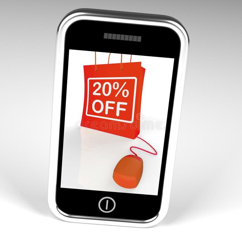 Venti per cento fuori dalla borsa visualizzano online 20 vendite e sconti illustrazione vettoriale