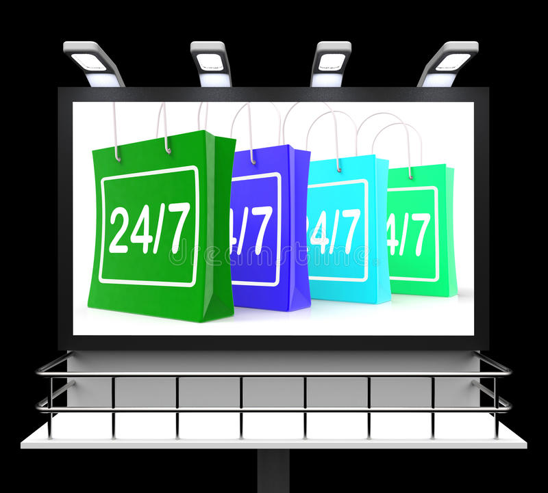 Venti quattro sette manifestazioni di compera del segno aprono 24/7 illustrazione di stock