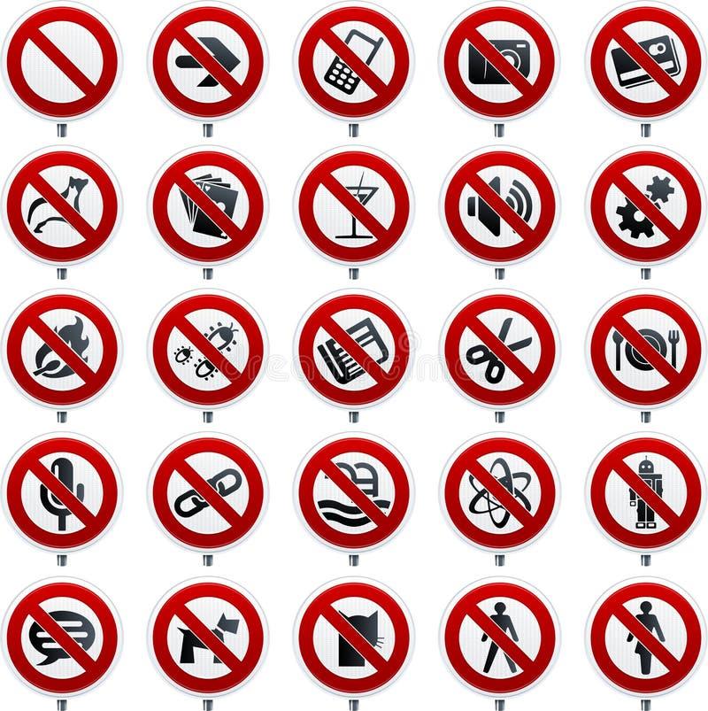 Venti simboli severi nello stile di lustro sopra i segni di proibizione illustrazione di stock