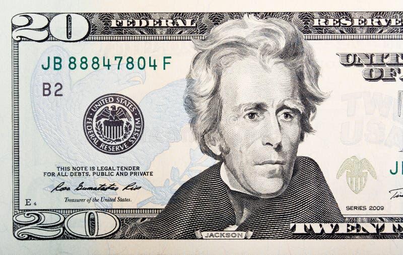 Venti U di carta S dollari di macro della fattura rr immagine stock