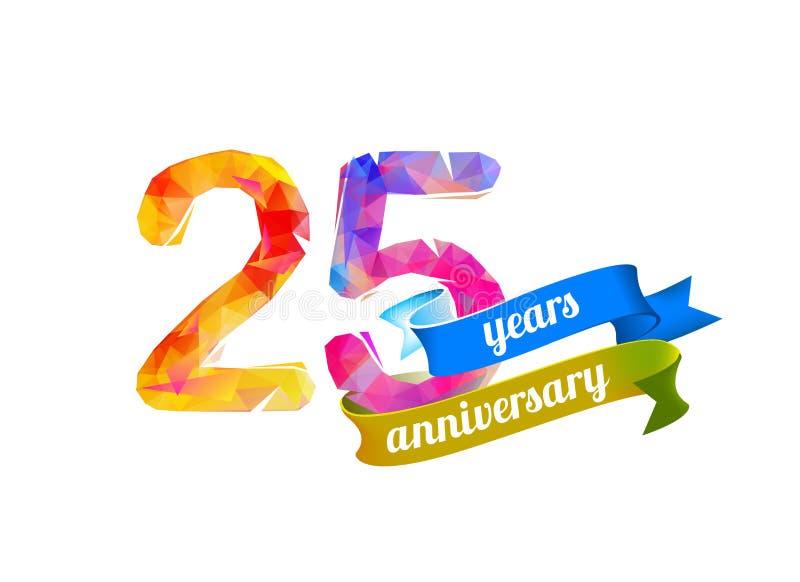 25 venticinque anni di anniversario illustrazione di stock