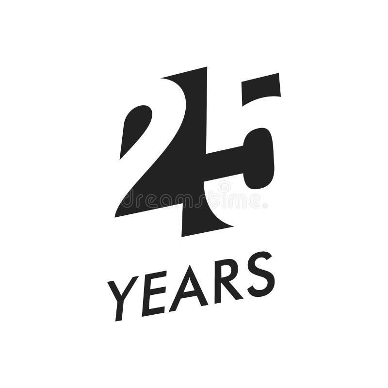 Venticinque anni di vettore di modello dell'emblema Simbolo di anniversario, progettazione di spazio negativa Icona nera di color illustrazione vettoriale