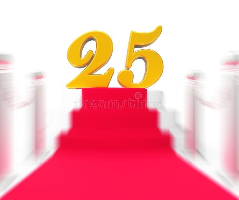 Venticinque dorati su tappeto rosso visualizzano venticinquesimo Anniversa royalty illustrazione gratis