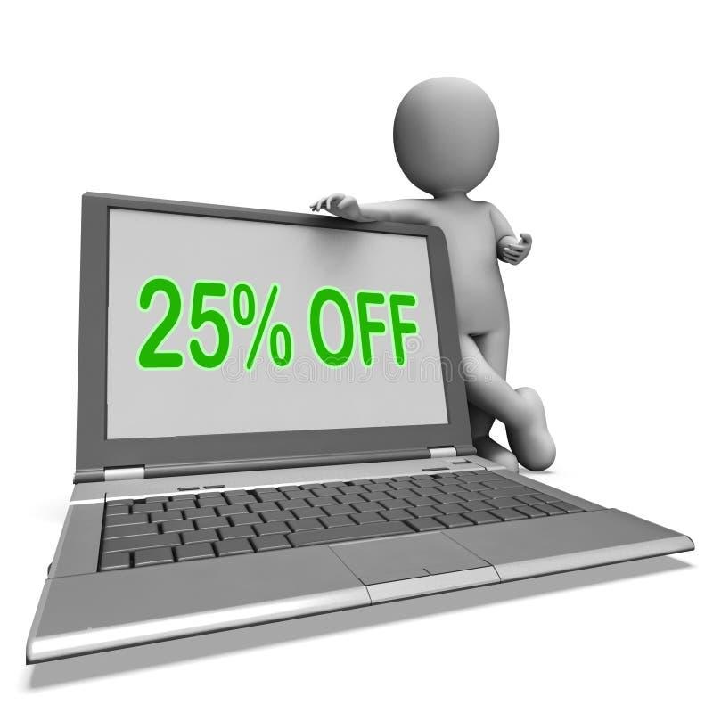 Venticinque per cento fuori controllano i mezzi deduzione o vendita online illustrazione vettoriale
