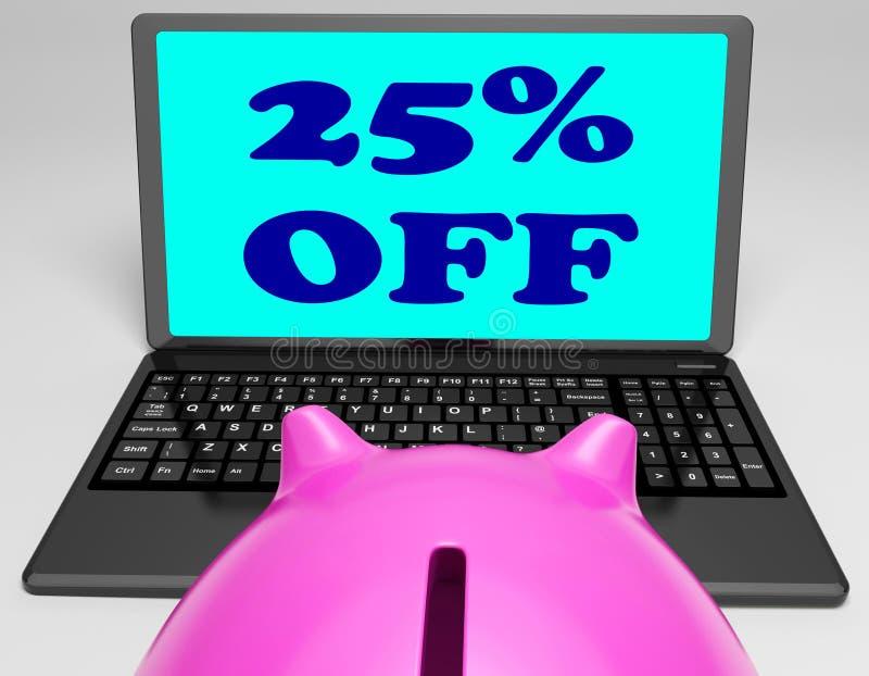 Venticinque per cento fuori dal computer portatile illustrazione di stock
