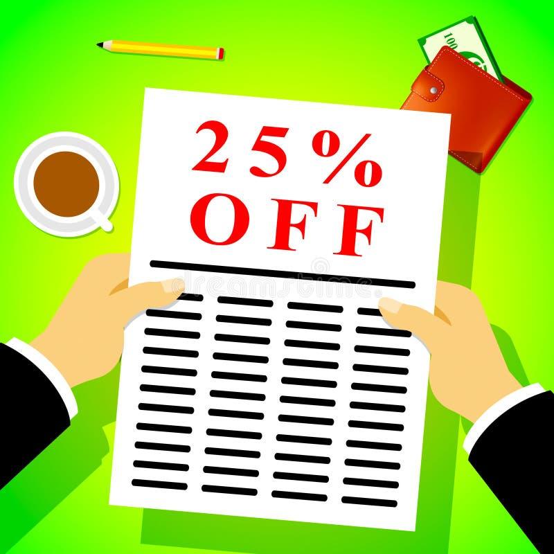 Venticinque per cento fuori dall'illustrazione di sconto 3d di manifestazioni 25% royalty illustrazione gratis