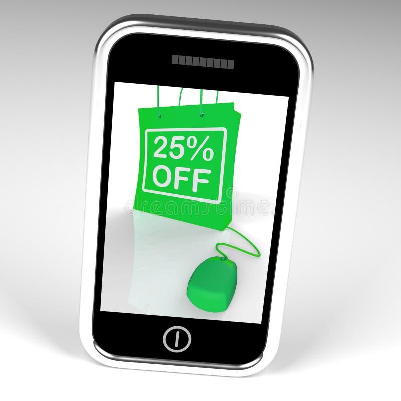 Venticinque per cento fuori dalla borsa visualizzano l'acquisto online 25 Discoun illustrazione di stock