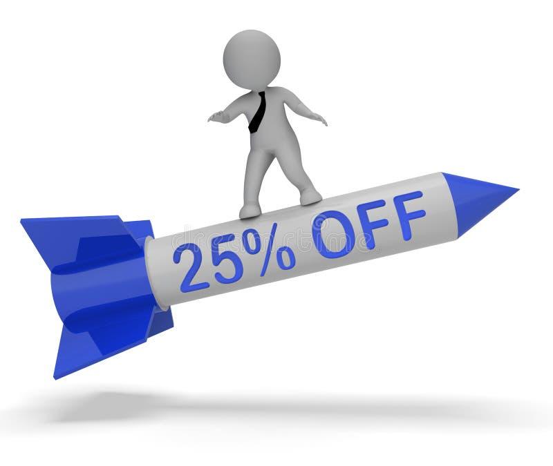 Venticinque per cento fuori dalla rappresentazione di sconto 3d di manifestazioni illustrazione di stock