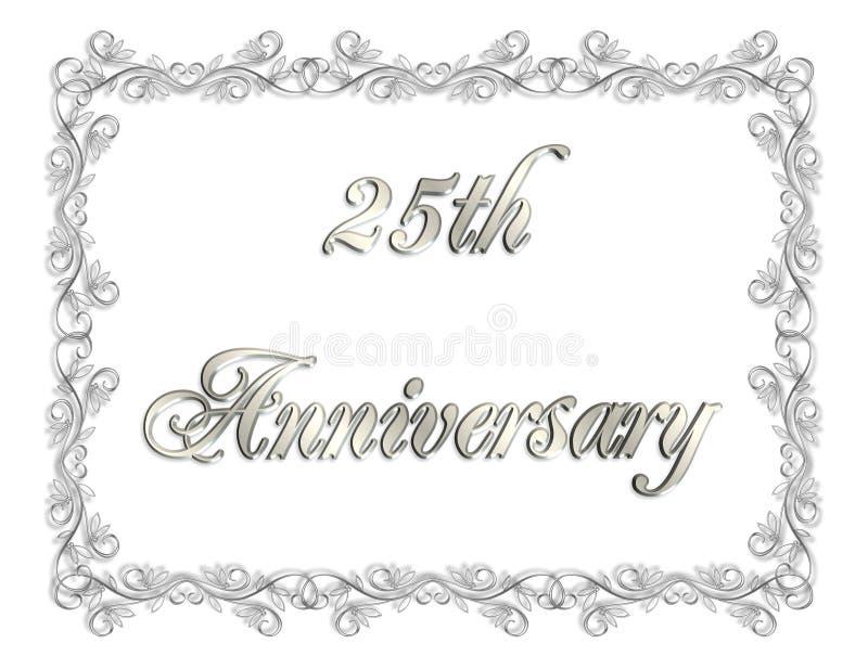 venticinquesimi Illustrazione dell'invito 3D di anniversario illustrazione di stock