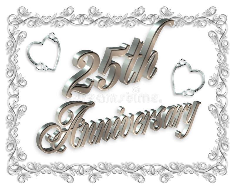 venticinquesimi Invito di anniversario 3D illustrazione vettoriale