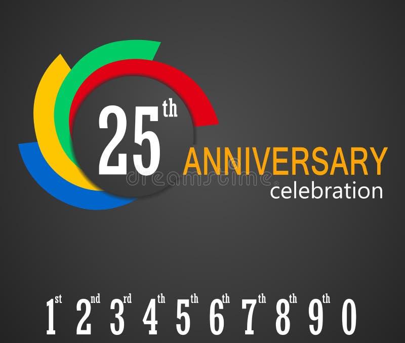 venticinquesimo fondo di celebrazione di anniversario, 25 anni di anniversario di illustrazione della carta illustrazione di stock