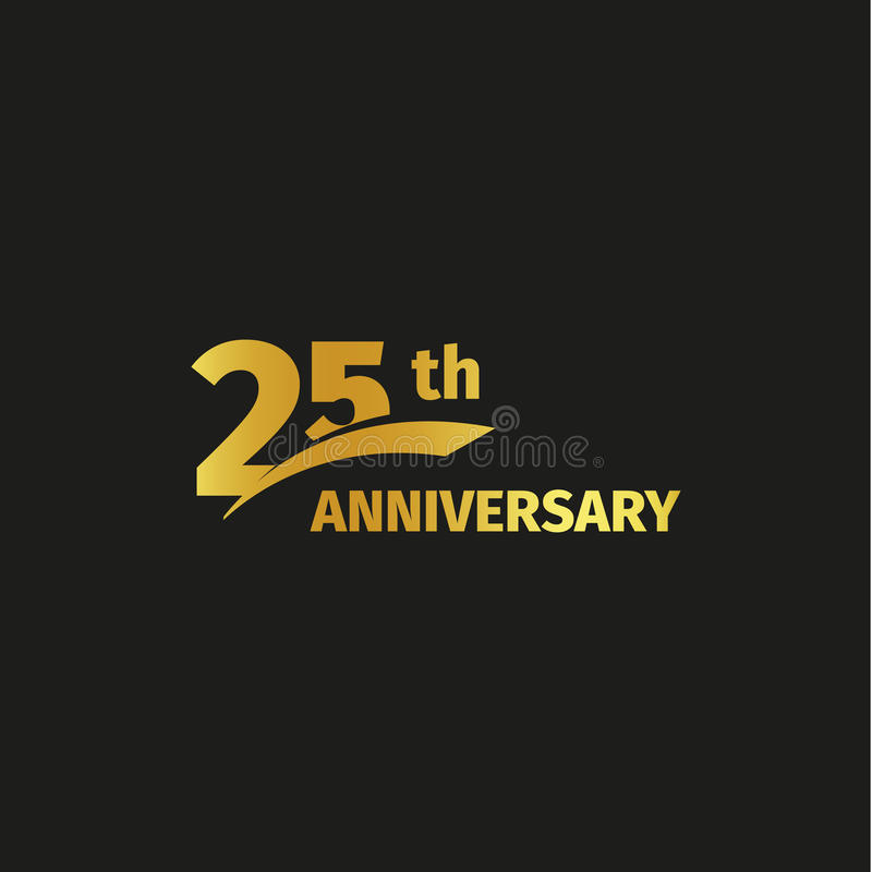 Venticinquesimo logo dorato astratto isolato di anniversario su fondo nero un logotype di 25 numeri Venticinque anni di giubileo illustrazione di stock