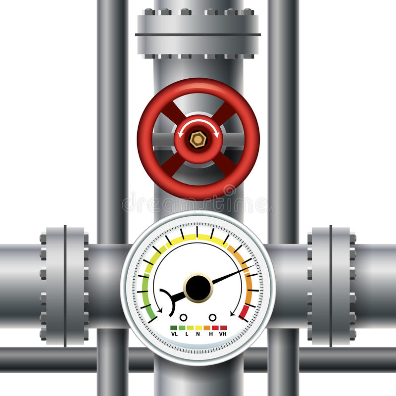 Ventil för gasrör, tryckmeter royaltyfri illustrationer