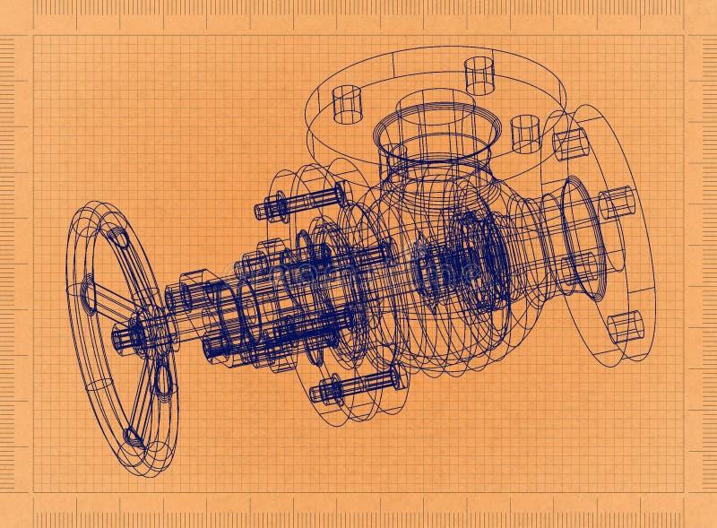 Ventil - Retro- Plan lizenzfreie abbildung