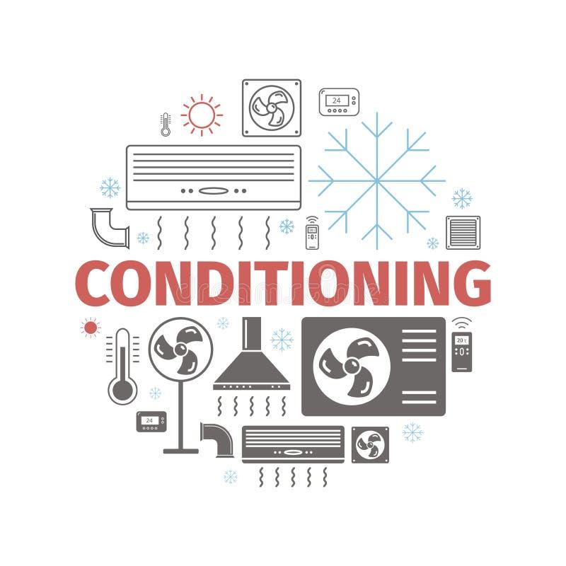 Ventilación y bandera de condicionamiento Sistema del icono del control del clima Ilustración del vector libre illustration