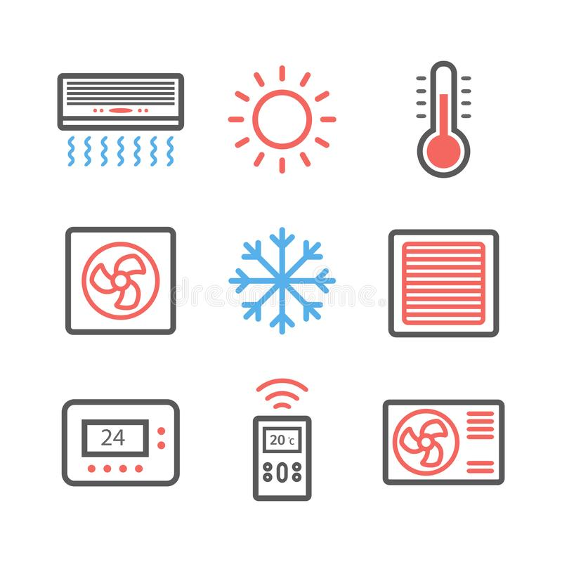 Ventilación y condicionamiento Sistema del icono del control del clima Ilustración del vector ilustración del vector