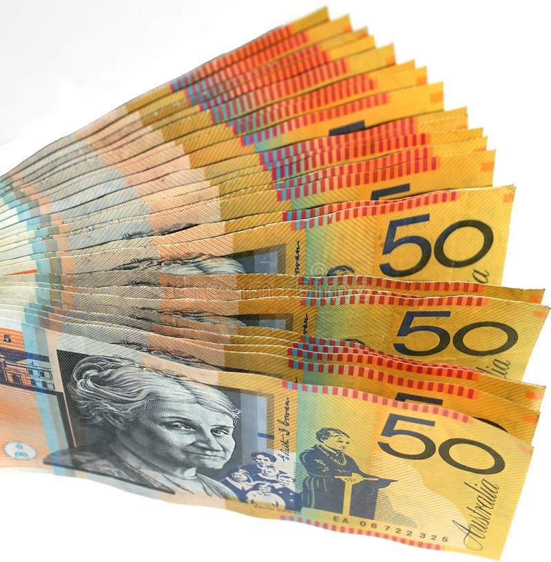 Ventilador australiano do dinheiro imagem de stock royalty free
