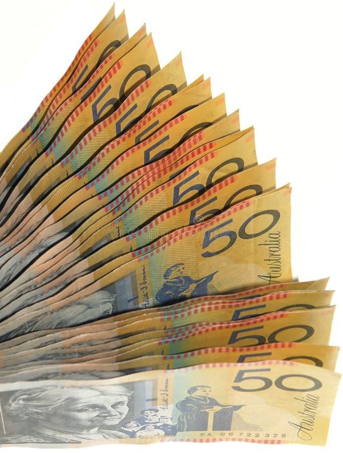 Ventilador australiano do dinheiro fotografia de stock royalty free