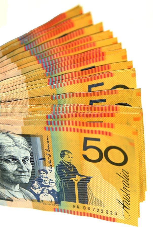 Ventilador australiano do dinheiro foto de stock